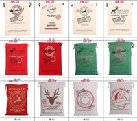 Wholesale 2017 Christmas Large Canvas Monogrammable Santa Claus Drawstring Bag With Reindeers Monogramable Christmas Gifts Sack Bags DHL