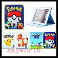 Wholesale Cute Ipad Casing - Cute Cartoon Poke Go Pikachu Wallet flip PU leather Case TPU Card Slot Stand for ipad air mini 2 3 4 5 6