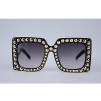 черные розовые очки рамы оптовых-Мода Женская площадь ацетат Кристалл камни заклепки солнцезащитные очки для горячей продажи черный дизайнер большая рамка солнцезащитные очки для женщины розовый с случае