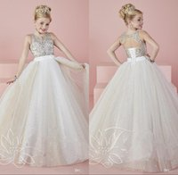 Wholesale Cute Pink Crystals - 2017 Cute Angel Baby Ball Gowns Girls Pageant Dresses Sheer Crew Neck Beaded Crystals Backless Blingbling Long Flower Girl's Dresses