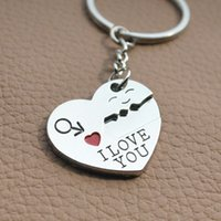 Wholesale i keychains resale online - Silver Plated Lovers Gift Couple Heart I LOVE YOU Pairs Keychain Fashion Keyring for couples and lovers