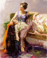 Wholesale Famous Figure Paintings - Mother and child,Afternoon Nap by Pino Daeni,Pure Hand painted famous Impressionist Art Oil Painting On Canvas,Multi sizes available dhw008