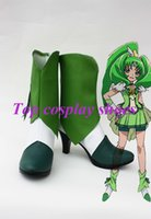 Wholesale Boots Smile - Wholesale-Freeshipping anime Smile Precure! Pretty Cure Nao Midorikawa Cure March Cosplay Shoes boots Custom made for Halloween Christmas