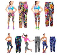 Wholesale Ladies Tight Stretch Leggings - Woman ladies High Waist Running Fitness Tight pants Floral Printed Stretch Cropped deportiva Leggings yoga pants