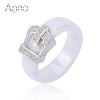 Atacado- AN Crown Ceramic Rings For Women Anéis de noivado Love Designer Black White Ceramic Zircon Rings New Fashion Ceramic Jewelry