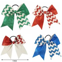 "Wholesale High School Tie - 7"" Big Glitter Chevron Cheer Bow Ponytail Holder Hair Tie For High School Uniform Girl Cheerleader"