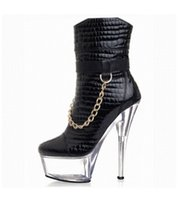 Wholesale Thick Low Heel Boots - Glass with super high heels 15 cm thick with low stage tube short boots High metal decoration hate day knight boots
