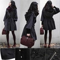 Wholesale Trench Coat Femme - Womens Trench Coat 2016 Autumn Winter Fashion Slim Female zipper Manteau Femme Long Sleeves Hooded Ladies Dark Gray Plus Thick