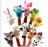 Wholesale Talking Hand Puppets For Kids - 2016 New Baby Plush Toy Hand Finger Puppets Talking Props Helpers 10 Animal Group Play Game for Kid 10pcs set Free Shipping Wholesale