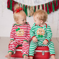 Wholesale girls reindeer outfit - Xmax Baby Girls Boys Smile Deer Pajamas Outfit Newborn Kids Christmas Bodysuit Striped Romper Rudolph Reindeer 2 Styles Winter Clothes