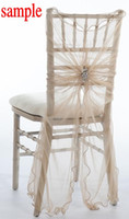 Wholesale Ivory Polyester Chair Covers - 2015 Tulle Crystals Romantic Beautiful Chair Sash Sample 02