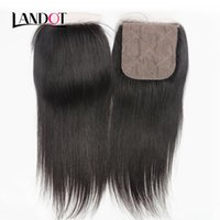 Wholesale Human Hair Silk Base Lace - Silk Base Closure Brazilian Straight Virgin Human Hair Lace Closures Free Middle 3 Way Part Brazilian Hair Closure Natural Color 4x4 Size