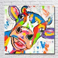 moderne abstrakte ölgemälde tiere großhandel-Neues design 2016 neue produkt cartoon tier bunte kuh ölgemälde handgemalte moderne abstrakte leinwand kunst