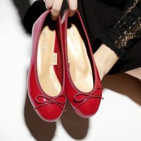 Wholesale Office Dress Pregnant - Women's Soft Flats Bow Ballet Shoes Patent Leather Shallow Mouth Pregnant Shoes