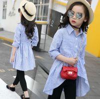 Wholesale Chinese Lolita Shirt - Kids Girls Shirts Children Cotton Striped Shirt Dress Autumn Spring Long Sleeve Blue Blouses Girls Clothes