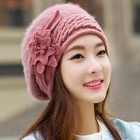 Wholesale Women Knit Wool Flower Hat - Beanies Women's Winter Hats For Women Knitted Girls Bonnet Caps Winter Lady Hats Wool Fur Beanie Flower Skullies Hat 2017