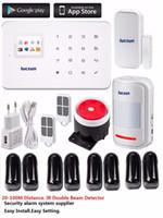 Wholesale Ir Beam Detector - Wholesale- 1set security alarm system with wireless intelligent alarm Host 4pair waterproof wireless 2 beam IR Detector for monitoring