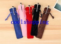 Wholesale Wholesale Pen Holder - Velvet Pen Pouch Holder Single Pencil Bag Pen Case Rope Locking Gift Bag