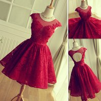 Wholesale Short Sexy Mini Skirts - 2016 Red Lace Prom Dresses Short Mini Skirt Sheer Neck Tulle Appliques Graduation Homecoming Party Gowns Vestidos De Fiesta Cortos