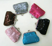 Wholesale Popular Korean Purses - Popular women Sequins money pouch mini coin purse key holders for children party gift drop shipping