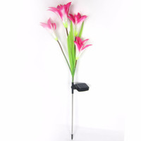 Wholesale Lily Solar Garden Lights - Wholesale-NEW Solar Power Rose and Lily Flower LED Light Garden Yard Lawn Night View Lamp