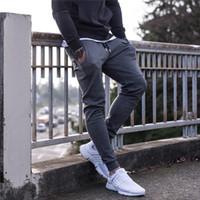 Wholesale Men Grey Dress Pants - Fashion men dress trousers 2017 new muscle brothers sports pants for men 3 colors m-xl jogging trousers finess training pants