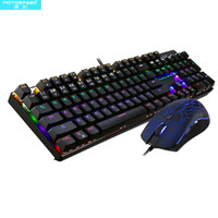 Motospeed CK666 Wired Optical Blue Switches Jogo Teclado + Mouse Combo Mechanical Feel Teclado Gamer LED Retroiluminado para Laptop