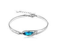 Wholesale blue fish plate - New Luxurious Blue Diamond Bangle Bracelet 925 Sterling Silver Jewelry Charms Glass Shoes Crystal Bracelets High Quality Free Shipping