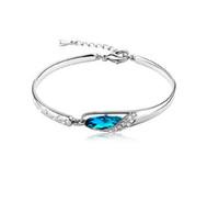 Wholesale Diamond Bangle Bracelet Silver 925 - New Luxurious Blue Diamond Bangle Bracelet 925 Sterling Silver Jewelry Charms Glass Shoes Crystal Bracelets High Quality Free Shipping