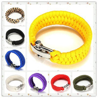 Wholesale Camping Cords - Outdoor Survival Emergency Paracord Shackle Adjustable Buckle Handmade Paracord Link Climbing Rope Cord Women Homme Bracelets Camping