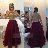 Wholesale See Through Lace Formal Dress - See Through Back Burgundy Evening Dresses Long Organza Gold Champagne Lace Applique Formal Gowns 2017 robe de soiree long