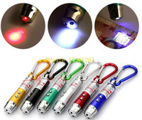 500pcs / lot 3 en 1 Laser Pen Pointer Keyring + Mini lampe de poche LED torche + urgence Keychain Flash Light