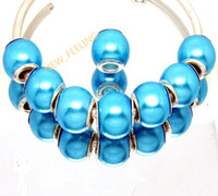 100PCS / Lot Beautiful Lake Blue Imitação de pérolas de pérolas Silver core loose European Big Hole Beads acrílicas para jóias Making Low Price
