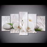 Wholesale Picture Pebbles - 5 Pcs Set Framed Printed White orchid pebbles Painting Canvas Print room decor print poster picture canvas Free shipping NY-5728