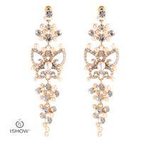 Wholesale Pearl Clip Dangle Earrings - Luxury Hollow Drop Earrings Woman Gold-color Dangle Earrings Bohemia Butterfly With Crystal Pearl Handmade Fashion Jewelry