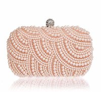Wholesale beaded wedding purses for sale - Group buy Women Pearl Beaded Evening Bag Diamond Evening Clutch Hard Clutch Purses Bags Bridal Wedding Party Small Chain Bag Wallet JXY213