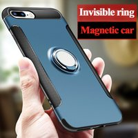 Wholesale Ring Rose Gold Silver - Ring Armor Case For IPhone X 8 7 6 Plus 360° Cases For Samsung Note 8 S7 S8 Plus Case Silicone Ring Bracket