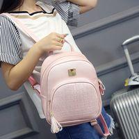Wholesale korean small backpack - Fashion Mochila Escolar Korean Backpacks Fashion PU Leather Shoulder Bag Crocodile Pattern Small Backpack Embossed School Bags