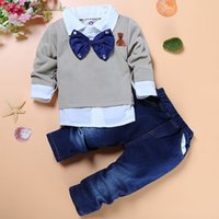 Wholesale Denim Top Boy - Autumn Bow Tie Denim Sets Clothing For Kids Boys 2 Piece Outfits Clothes Long Sleeve Cool Shirts Top+Jeans Trousers Suit For Children Kit