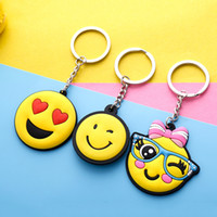 Wholesale r pendants - Creative Key Buckle Women Gift Pendant PVC Flexible Glue Keychain Many Styles Lovely Emoji Keys Chain 0 5mk C R