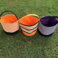 Wholesale Designed Tote Bag Wholesale - Wholesale Blanks 2016 New Designs Stripe Halloween Buckets Halloween Tote Bag Trick or Treat Candy Gift Bag DOM103349
