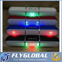 f mp4 al por mayor-La iluminación de flash píldoras pulso JMS-V318 de color llevado portátil Bluetooth Wireless Speaker Bulit-en el micrófono Altavoces manos libres Soporte USB FM F