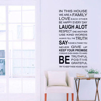 wall stickers quotes house rules 도매-뜨거운 판매 새로운 가정 하우스 규칙 벽 스티커 홈 장식 사랑 예술 따옴표 비닐 장식 이동식 벽 아트 데칼