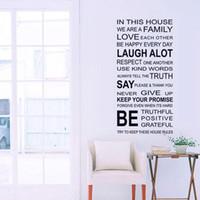 ingrosso regole casa vinile-Vendita calda Nuove regole della casa di famiglia Adesivi murali Decorazioni per la casa Amore Citazione di arte Decalcomanie di arte di parete smontabili della decorazione del vinile