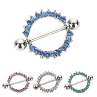 Wholesale Body Piercing Mix Colors - 8pcs lot mixed colors Gem Paved Circle Nipple Shield Piercing Rings Body Piercing 14G 1Pair Nipple Piercing Body Jewelry