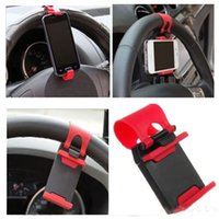freie handzelle großhandel-iRainy Universal Handy Auto Halterung auf dem Lenkrad Bessere Ansicht Buckle Clip Hände frei auf GPS Ihr iPhone Samsung YM0109