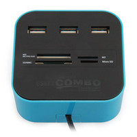 carte ms achat en gros de-Hub USB 2.0 3 ports avec lecteur de carte combiné pour PC portable SD MMC M2 MS PRO