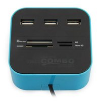 Wholesale ms stockings - USB 2.0 Hub 3 Ports with Card Reader Combo for SD MMC M2 MS PRO DUO PC Laptop