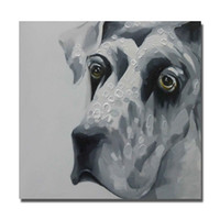 Wholesale Black Square Picture Frame - Black and White Dog Pictures for Sitting Room Decor Modern Pictures on Canvas Hand Painted Animal Oil Painting No Framed