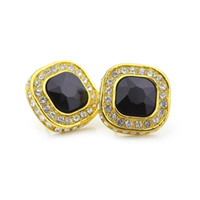 Wholesale Bling Rhinestone Earrings - Iced out 18K Gold Silver Plated Red Ruby Men Stud Earring Hip Hop Jewelry Fashion Bling Full Rhinestone Crystal Earring Party